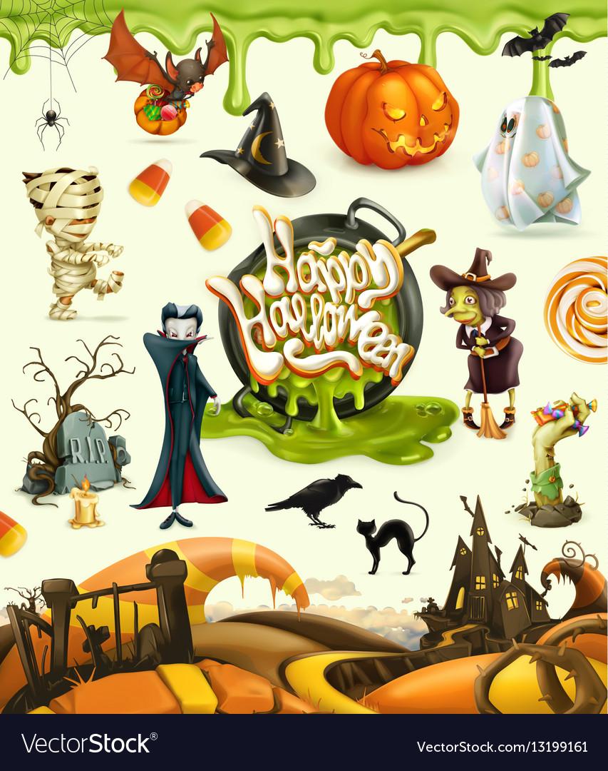 Halloween 3d pumpkin ghost spider witch vampire