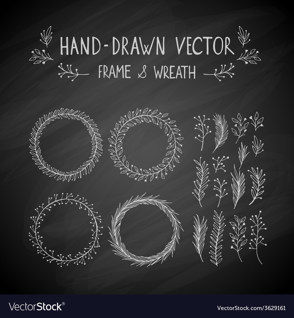 Hand drawn frame and wreath