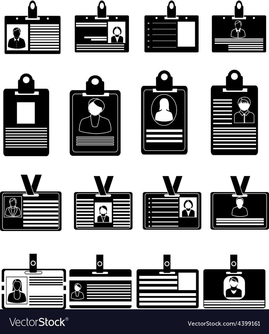 ID card icons set