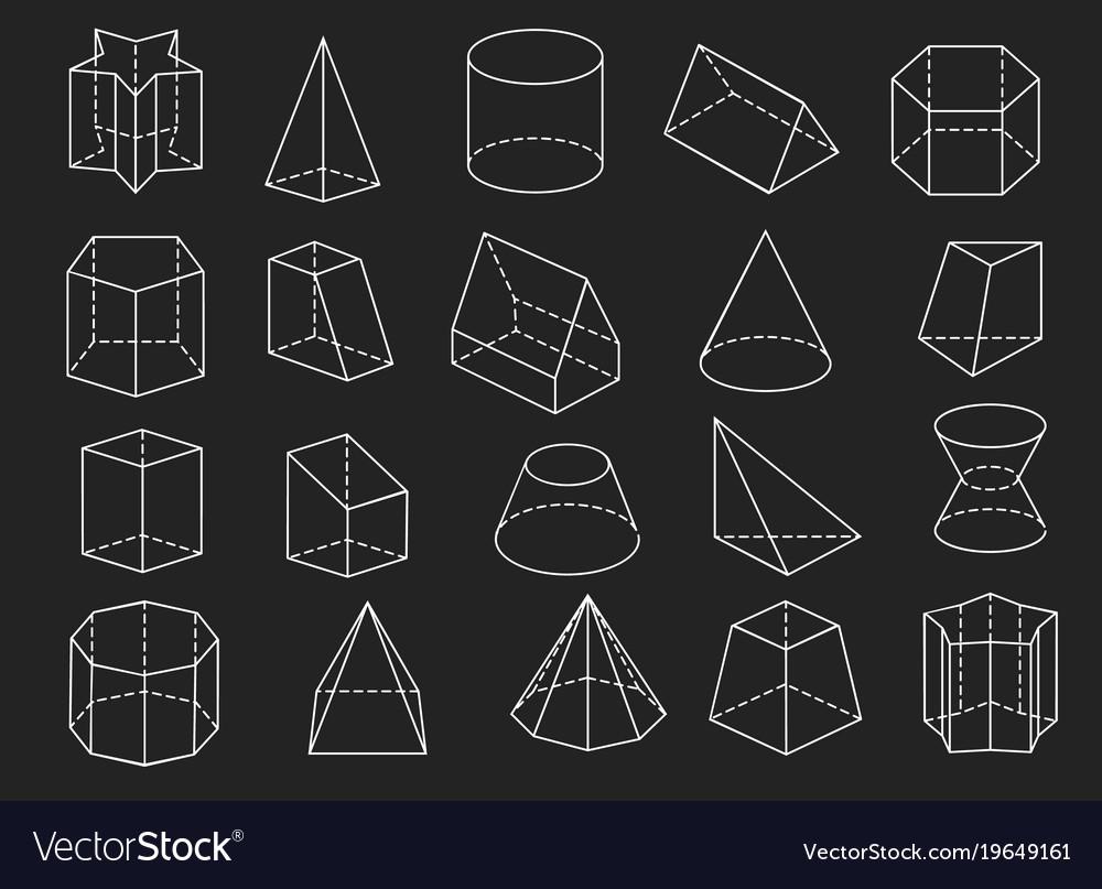 Line geometric shapes 3d icons set
