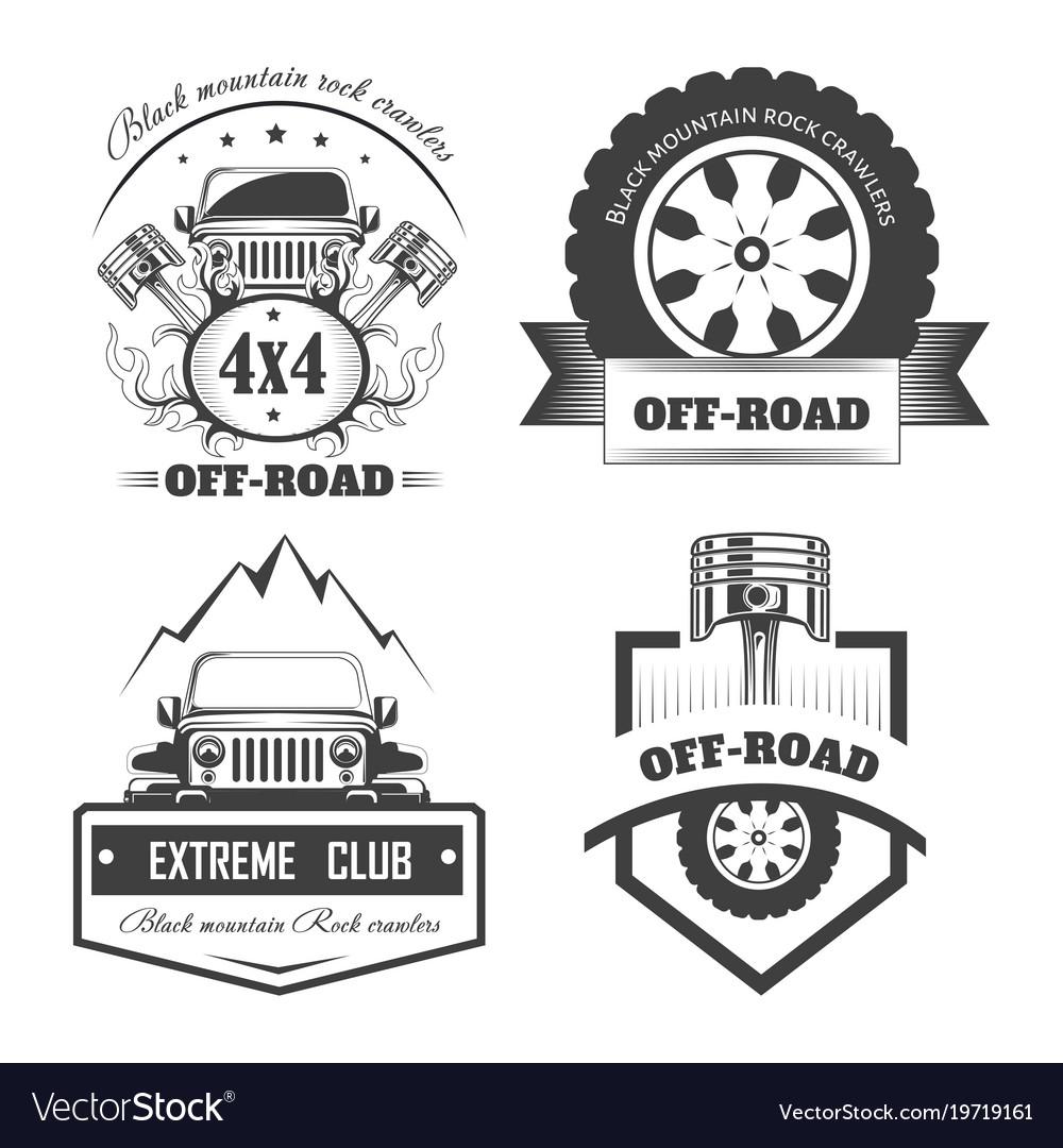 off road 4x4 extreme car club logo templates vector image rh vectorstock com car club logo creator car club logos for sale