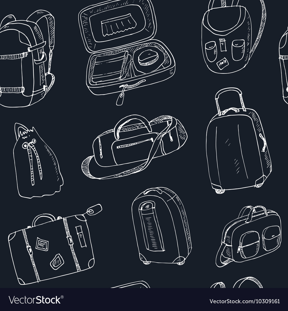 Seamless pattern different travel bags and
