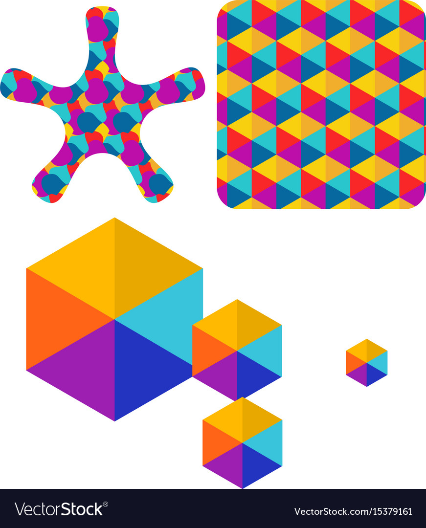 Set of abstract color box logo