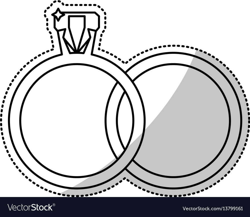 Wedding Rings Jewelry Outline Royalty Free Vector Image