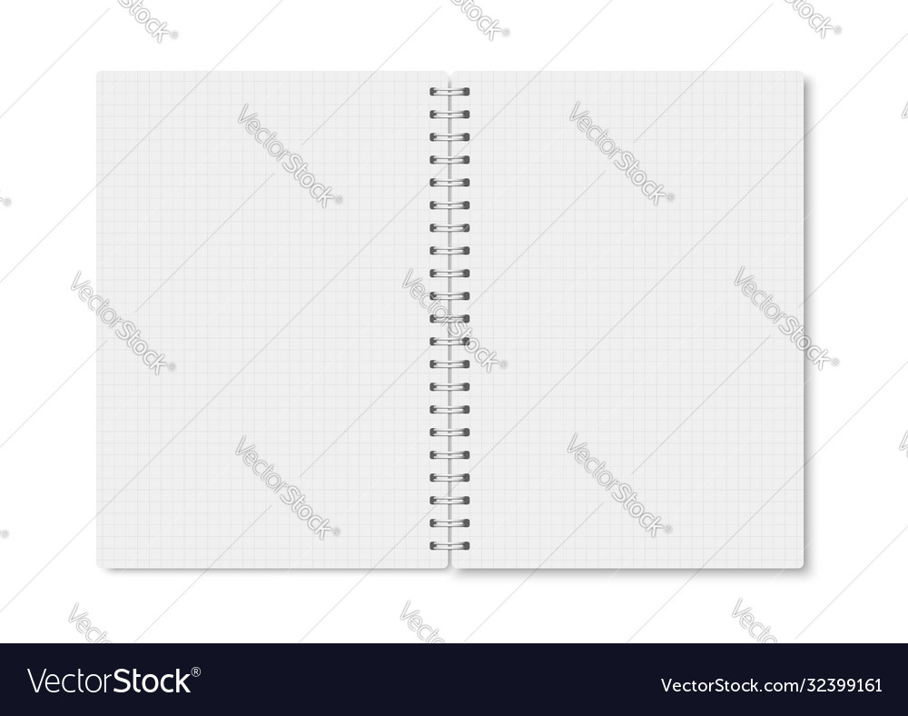 White realistic notebook opened with soft shadows