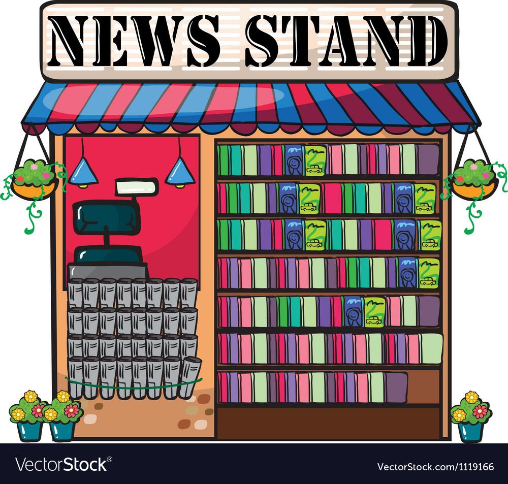 A newspaper shop vector image