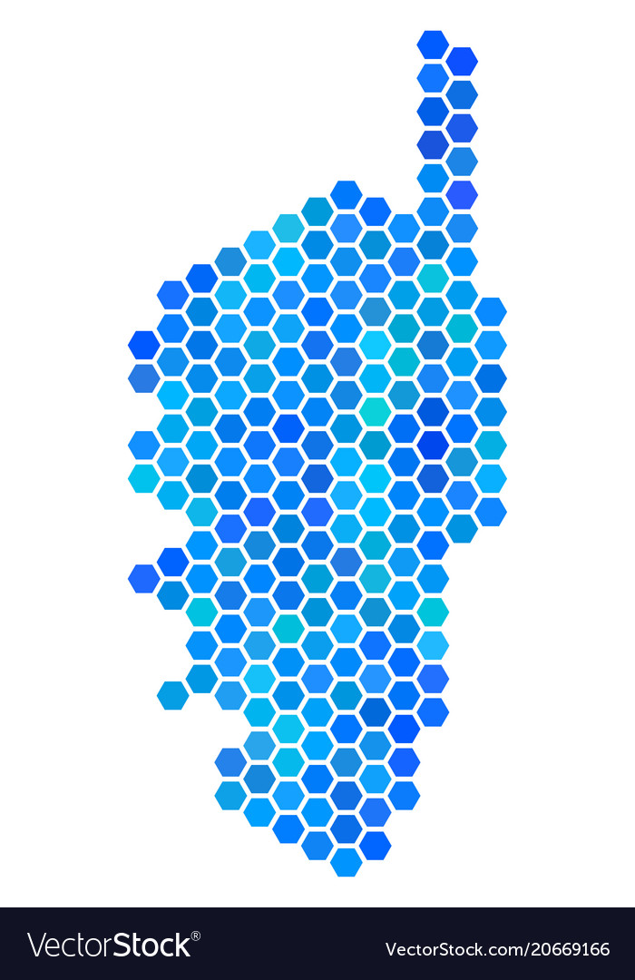 Blue Hexagon Corsica France Island Map Royalty Free Vector