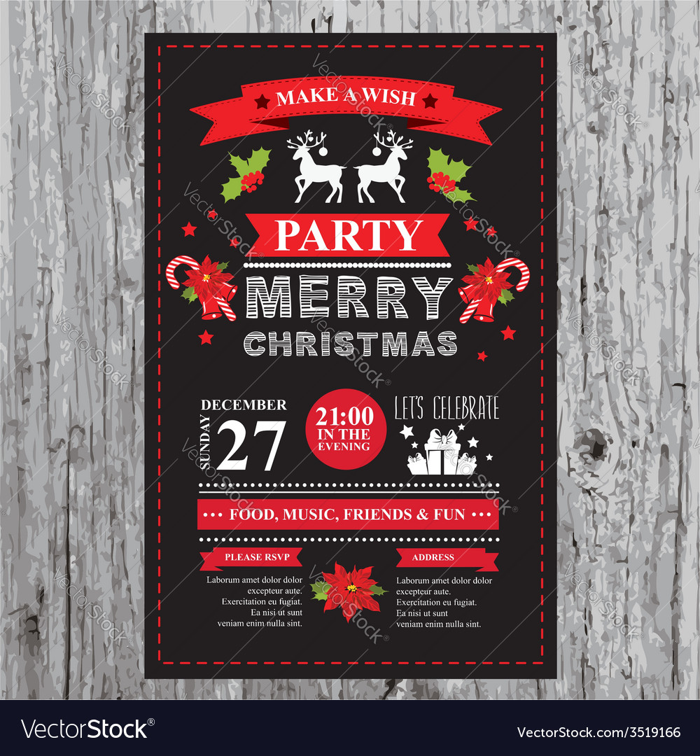 Christmas restaurant and party menu invitation