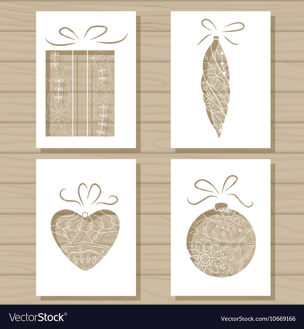 Christmas Stencils For Wood.Christmas Set Of Stencil Templates On Wooden
