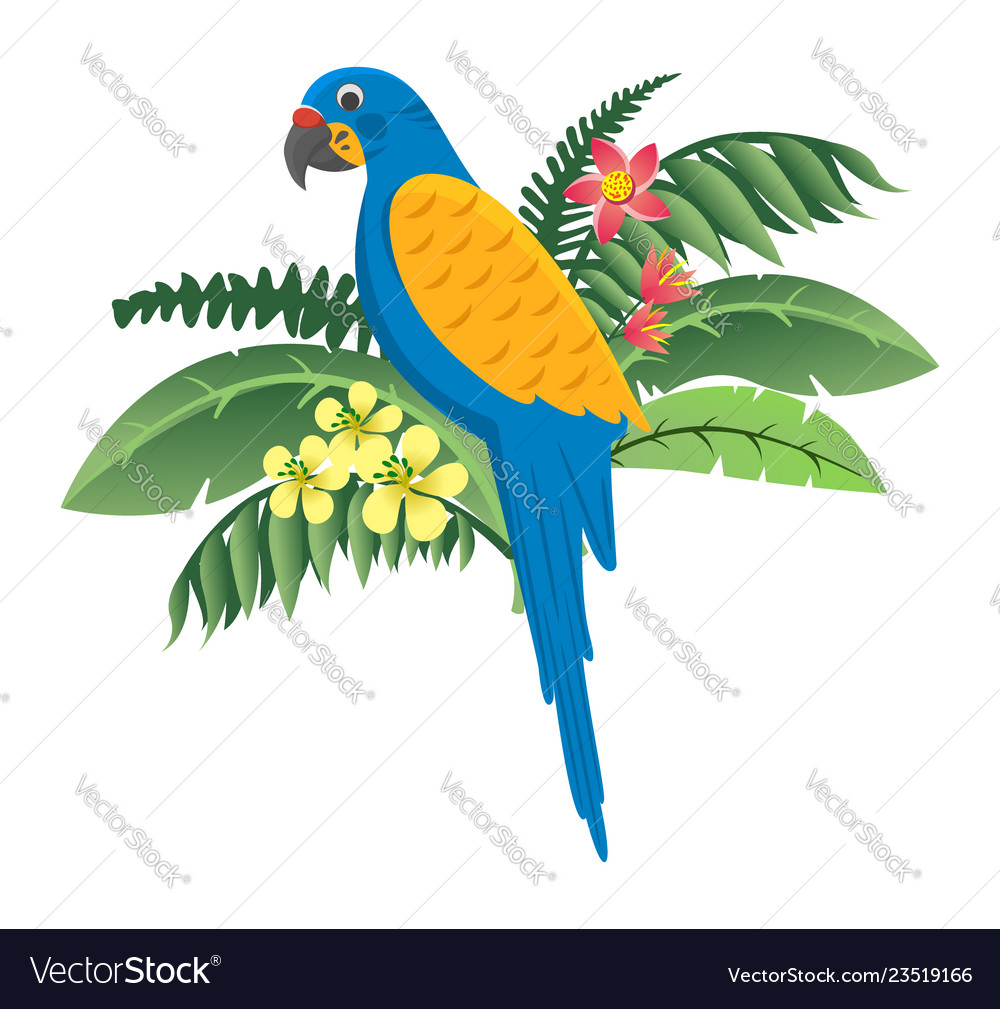 Colorful bird parrot sitting in flowers and green