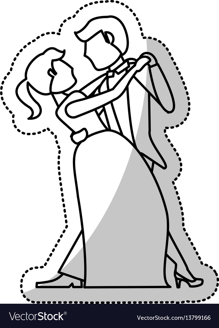 Couple wedding dancing romantic outline vector image