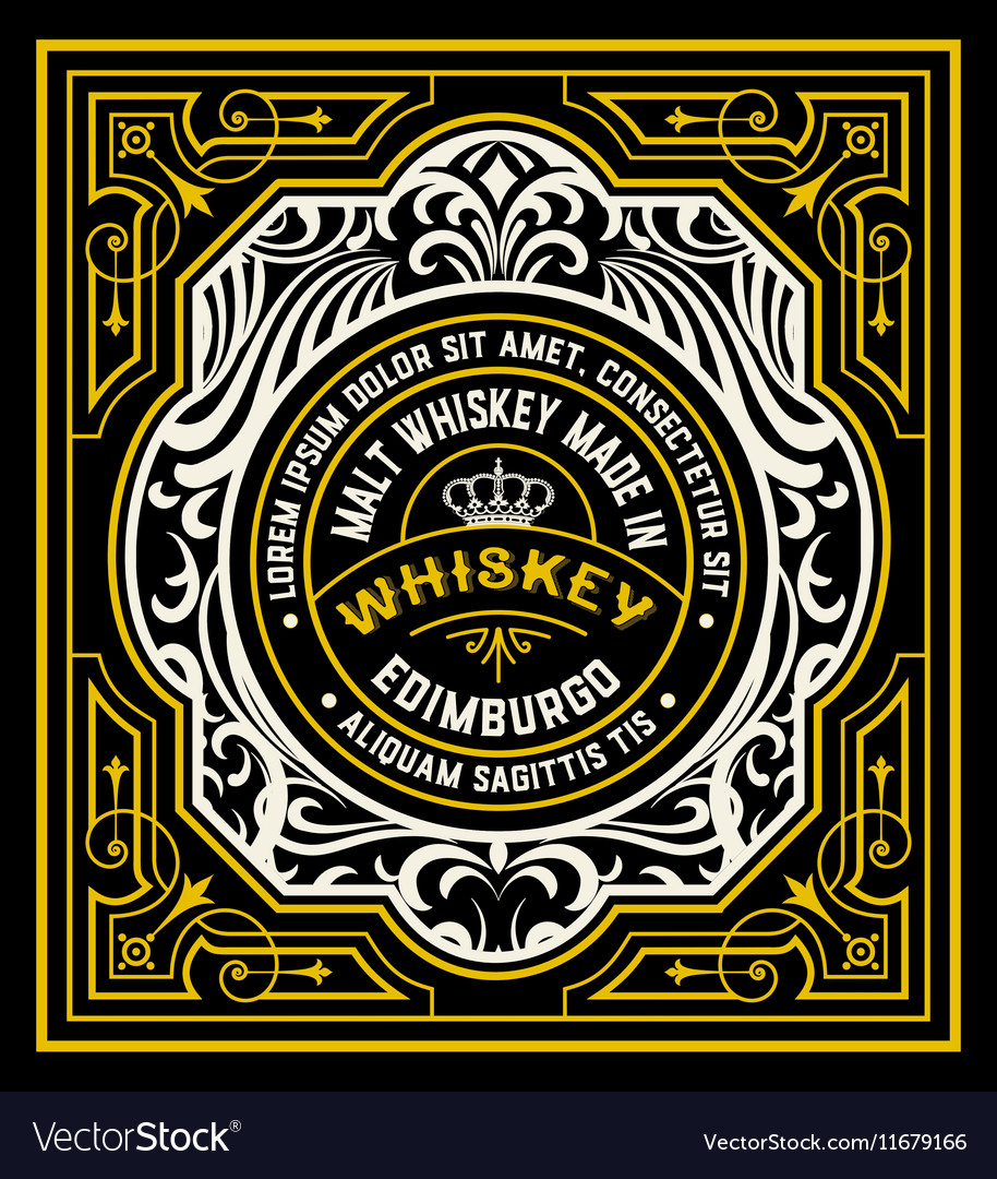 Floral Label for Whiskey packing or other products vector image