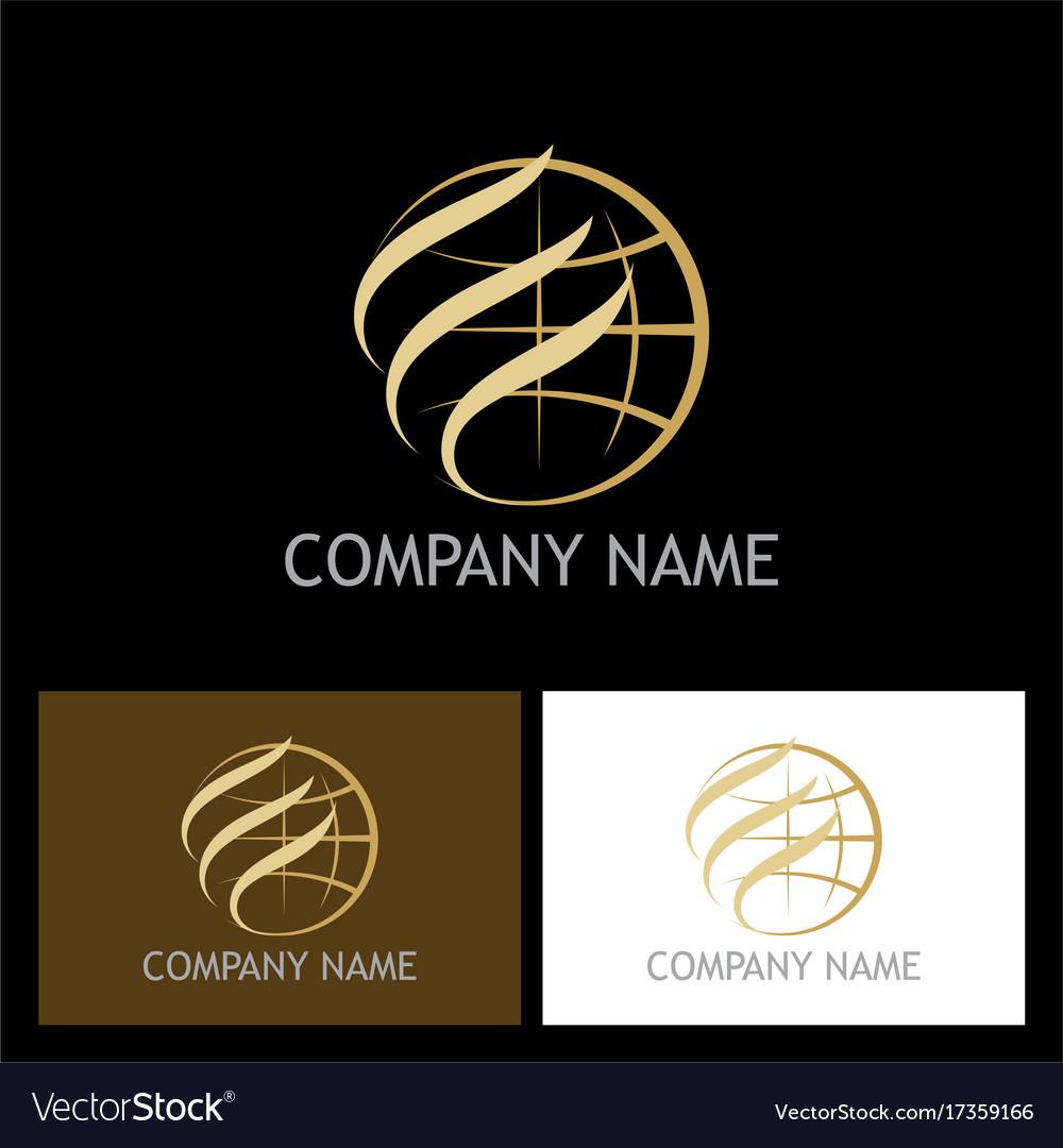 Gold globe abstract company logo vector image