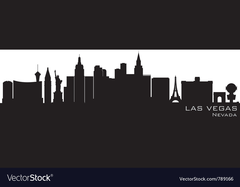 Las vegas nevada skyline detailed silhouette vector image