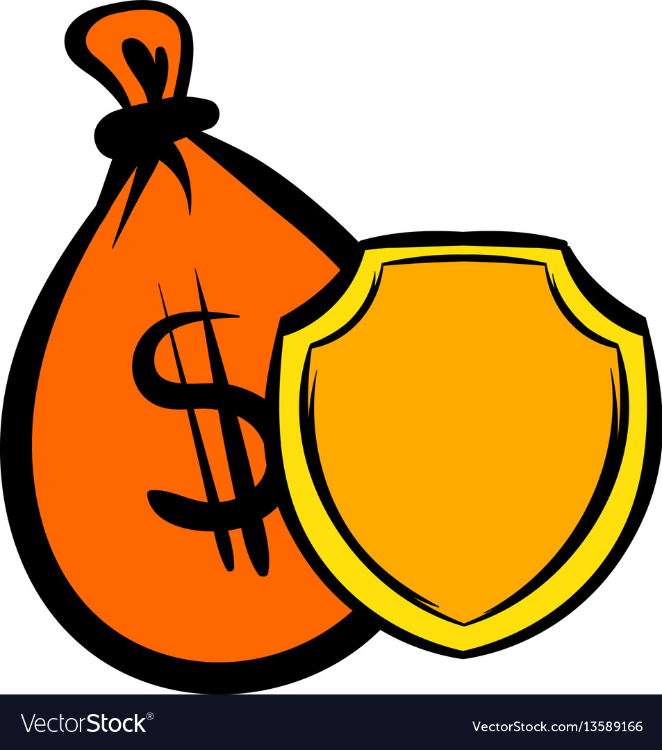 Money bag and a shield icon icon cartoon vector image