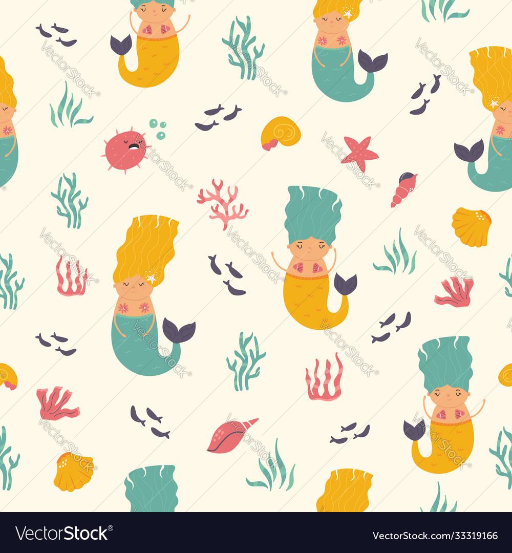 Seamless pattern with cute mermaids