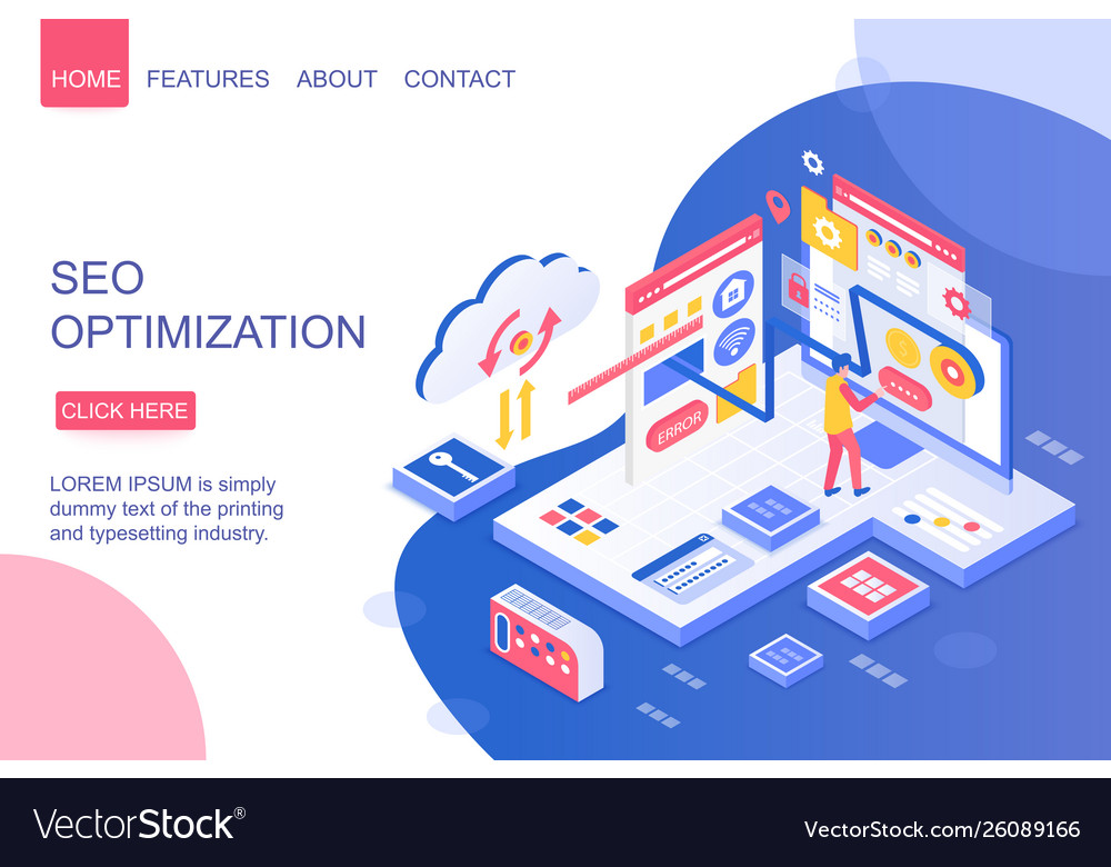 Seo optimization isometric landing page