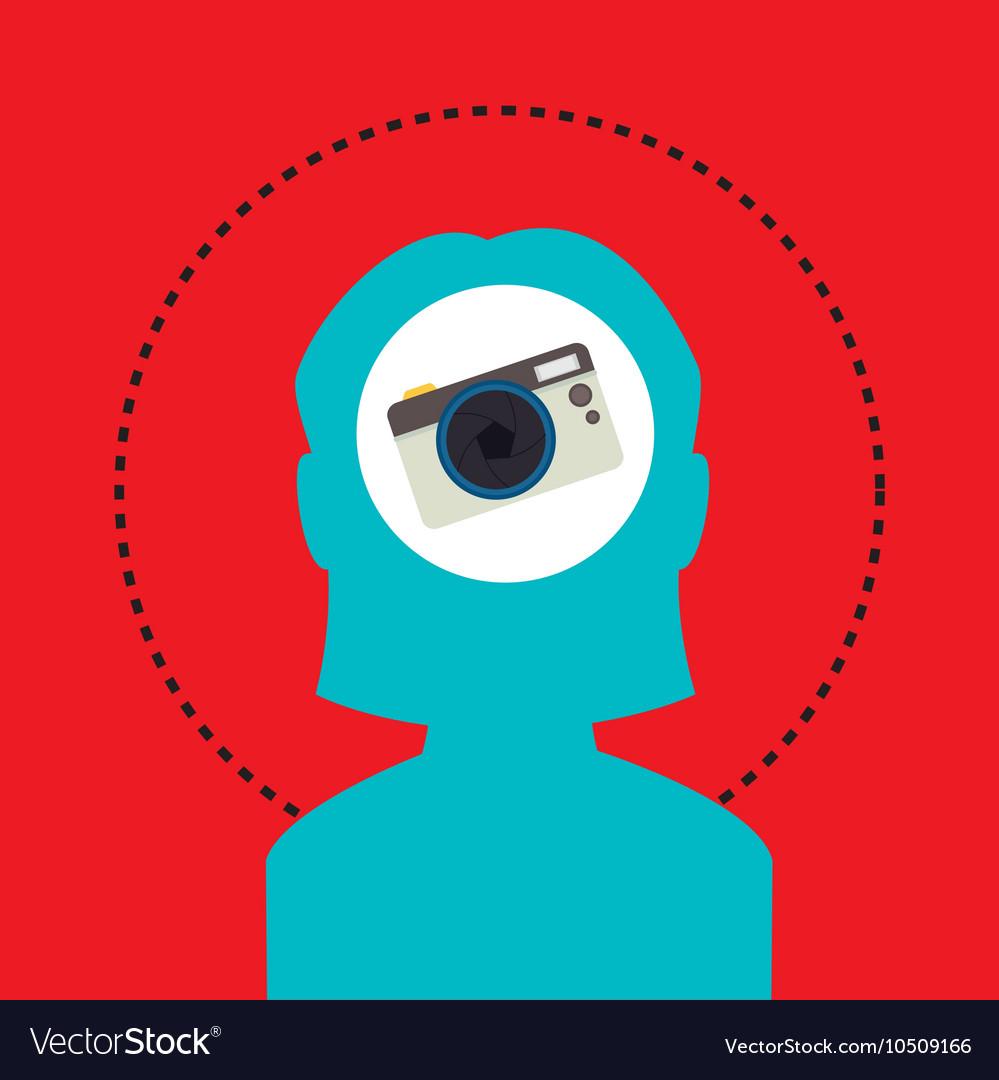 Silhouette camera photo icon vector image