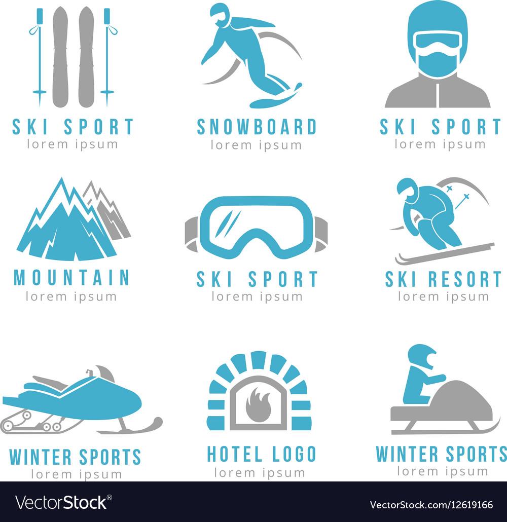 Ski resort and mountain hotel logo set with skiing