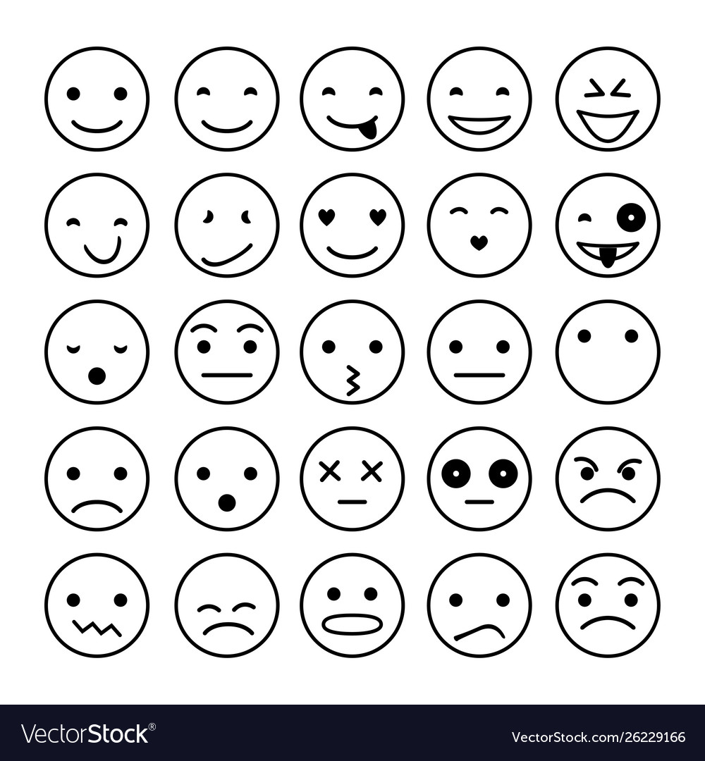 Smile icons isolated on white
