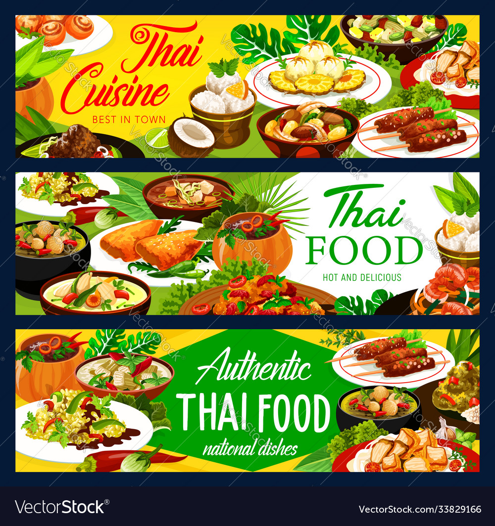 Thailand food dishes menu banners