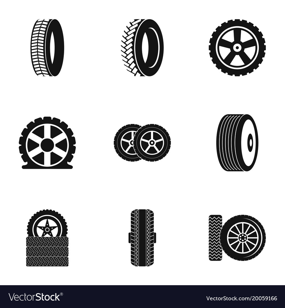 tire icons set simple style royalty free vector image