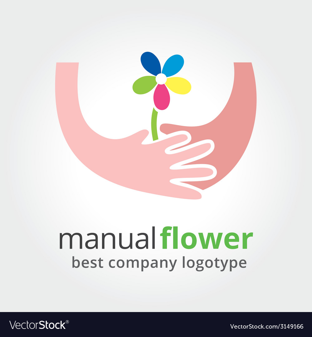 Two hands holding colored flowers nature logotype