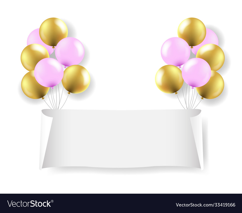 White paper banner with balloons