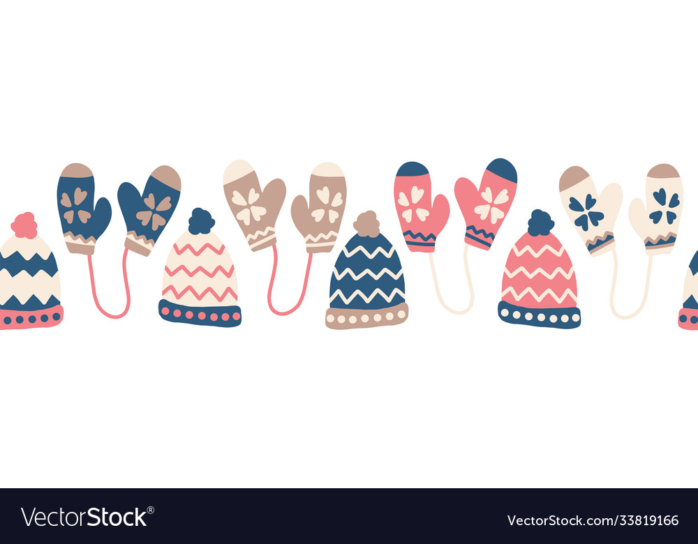Winter hats and mittens seamless border vector