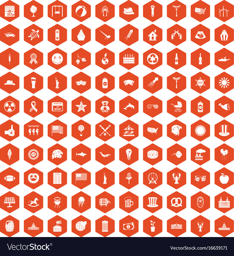 100 summer holidays icons hexagon orange