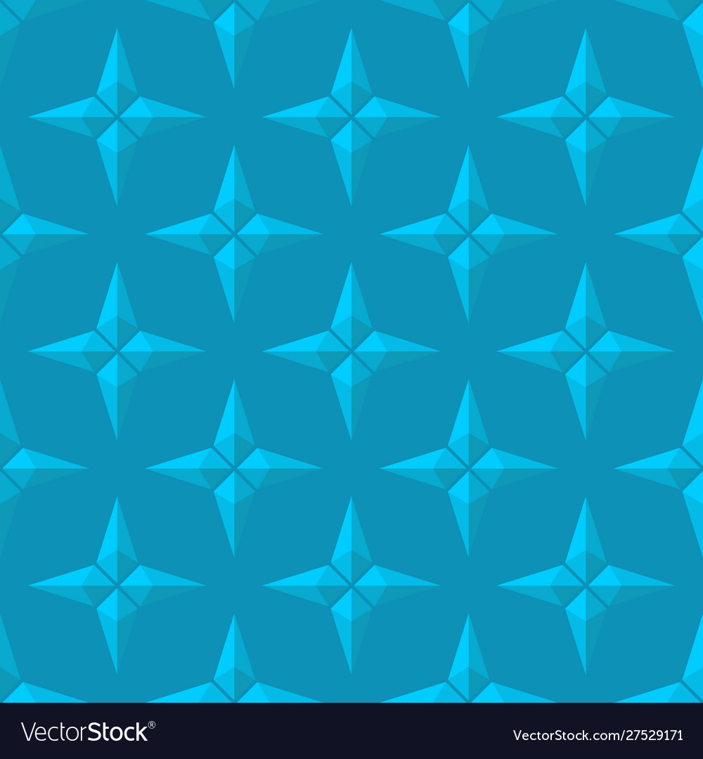 3d blue four pointed stars seamless pattern