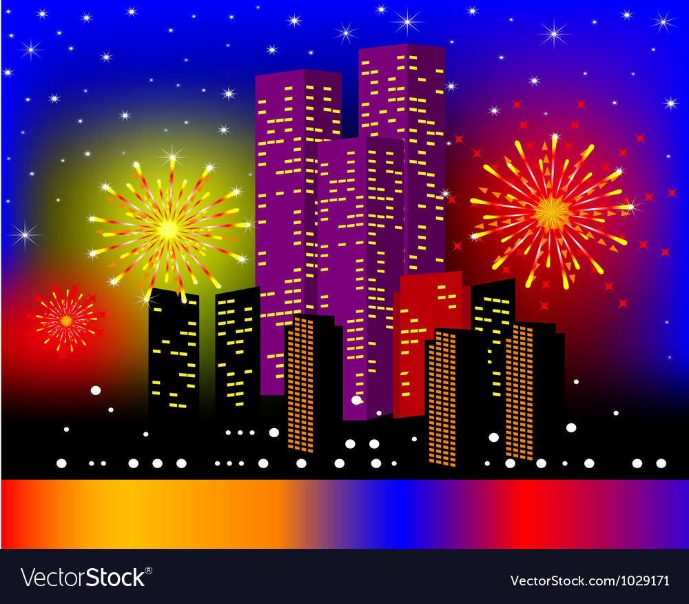 Background townhouses with festive firework in the