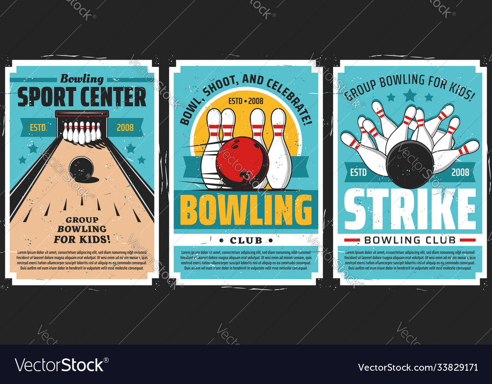 Bowling club posters ball and pin strike sport
