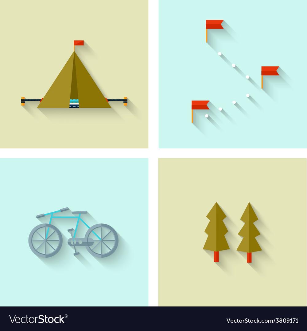 Camping adventure icons set flat design