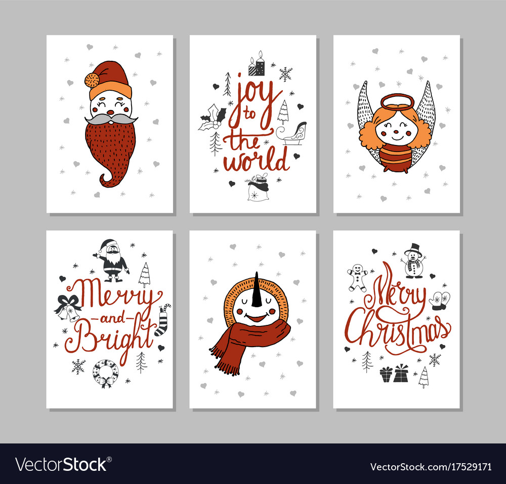 Cards set of cute cartoon christmas characters
