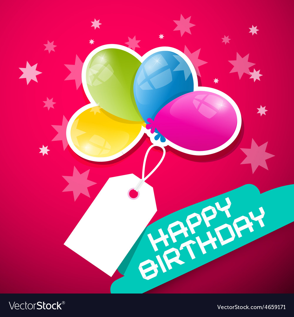 Happy Birthday Pink Background with Colorful vector image