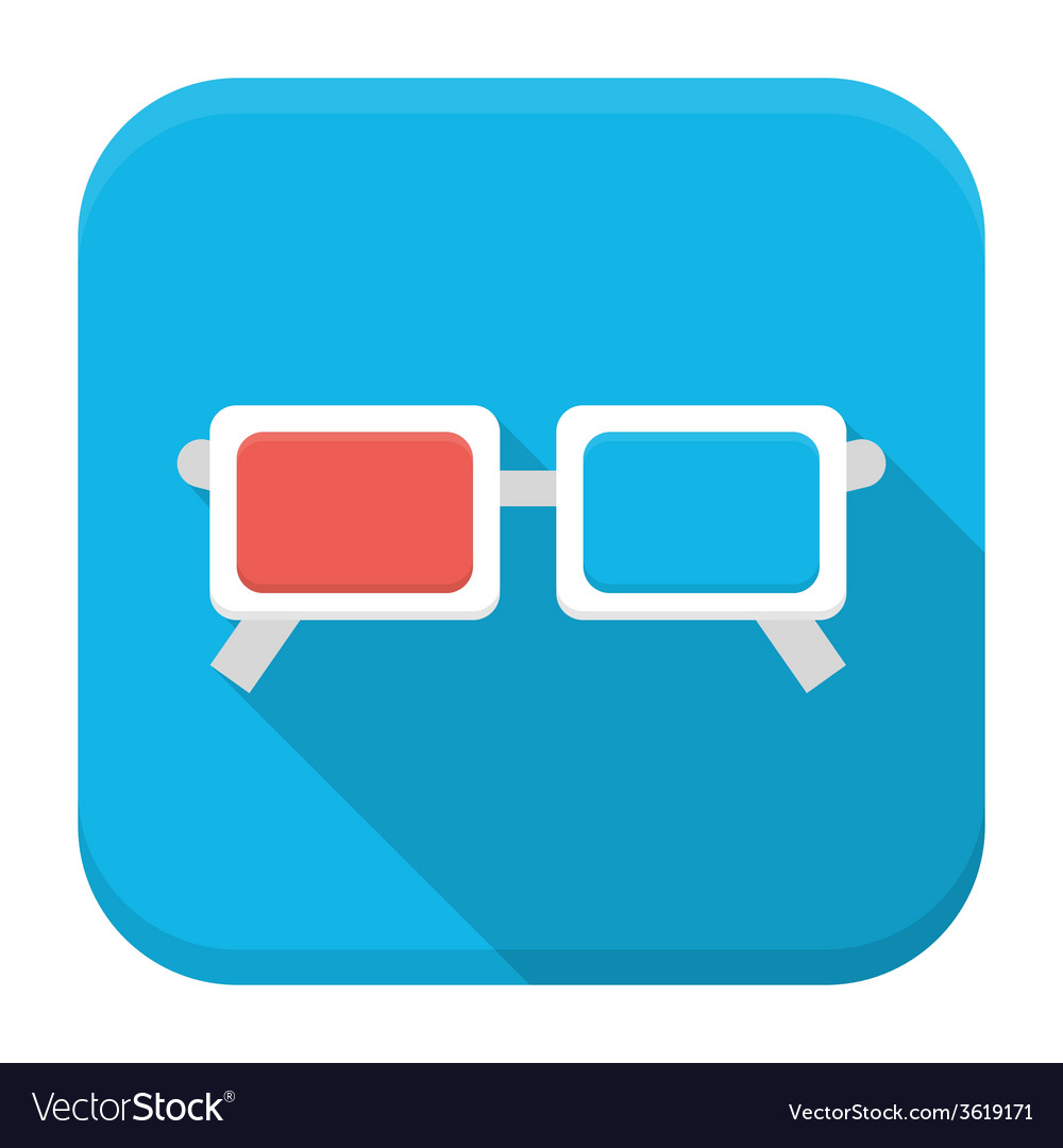 Movie glasses flat app icon with long shadow vector image