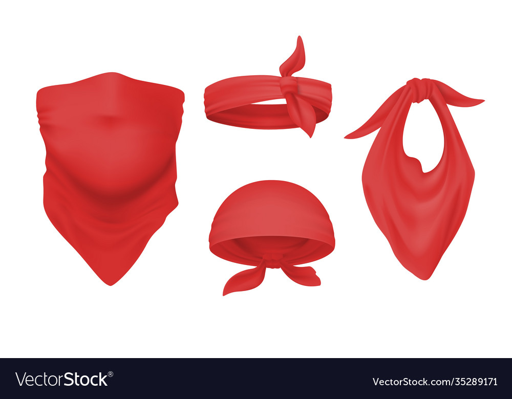 Red bandana and buff realistic headband and scarf vector