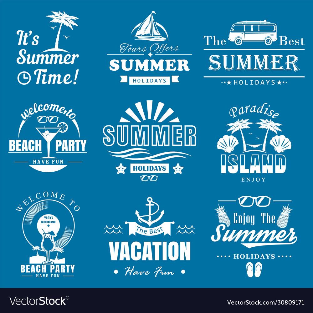 Summer time vintage logo set