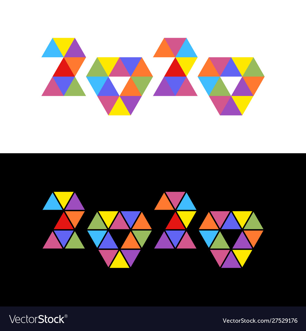 2020 colorful triangles mosaic logo