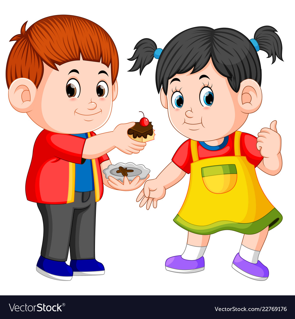 A boy giving his girlfriend a piece of cake
