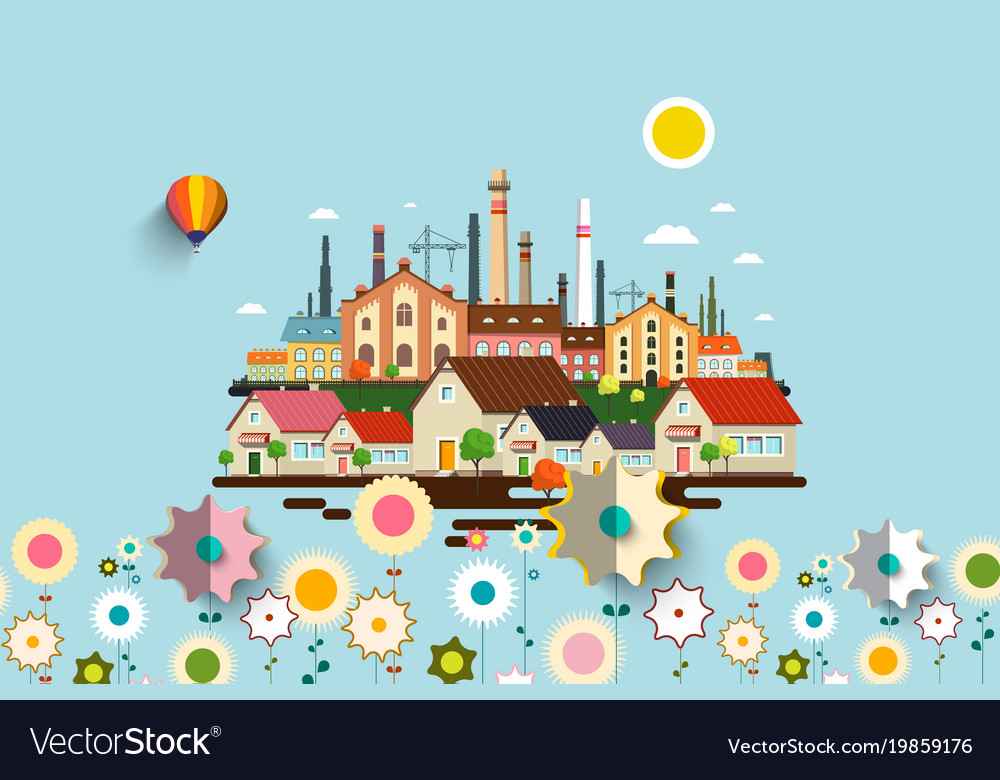 Abstract industrial city with flowers vector image