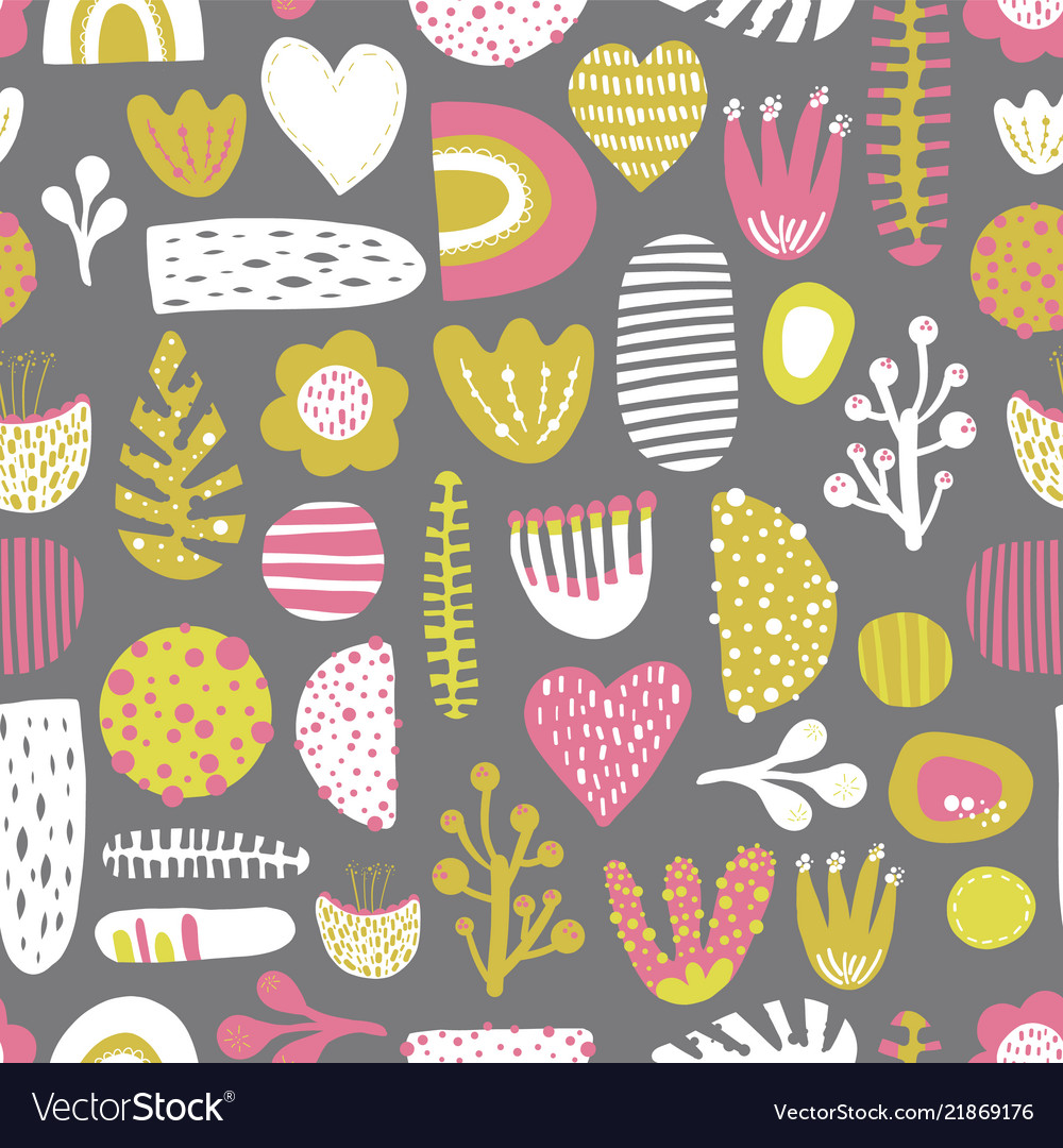 Abstract shapes seamless colorful pattern