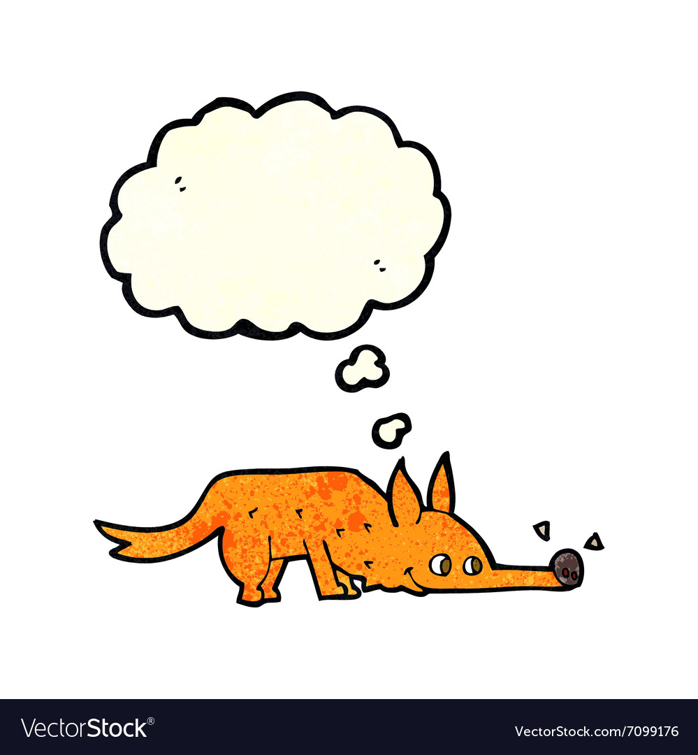 Cartoon fox sniffing floor with thought bubble vector image