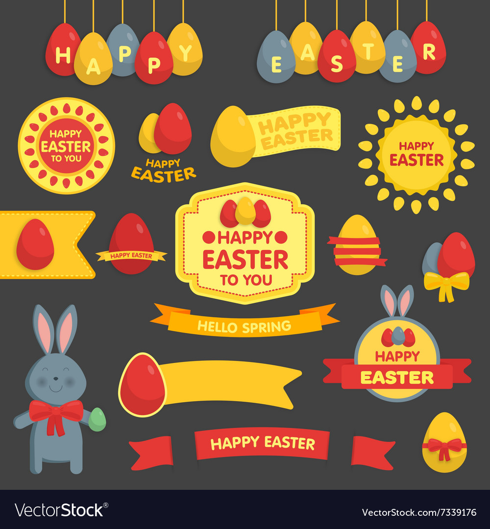Cute easter set labels ribbons and other
