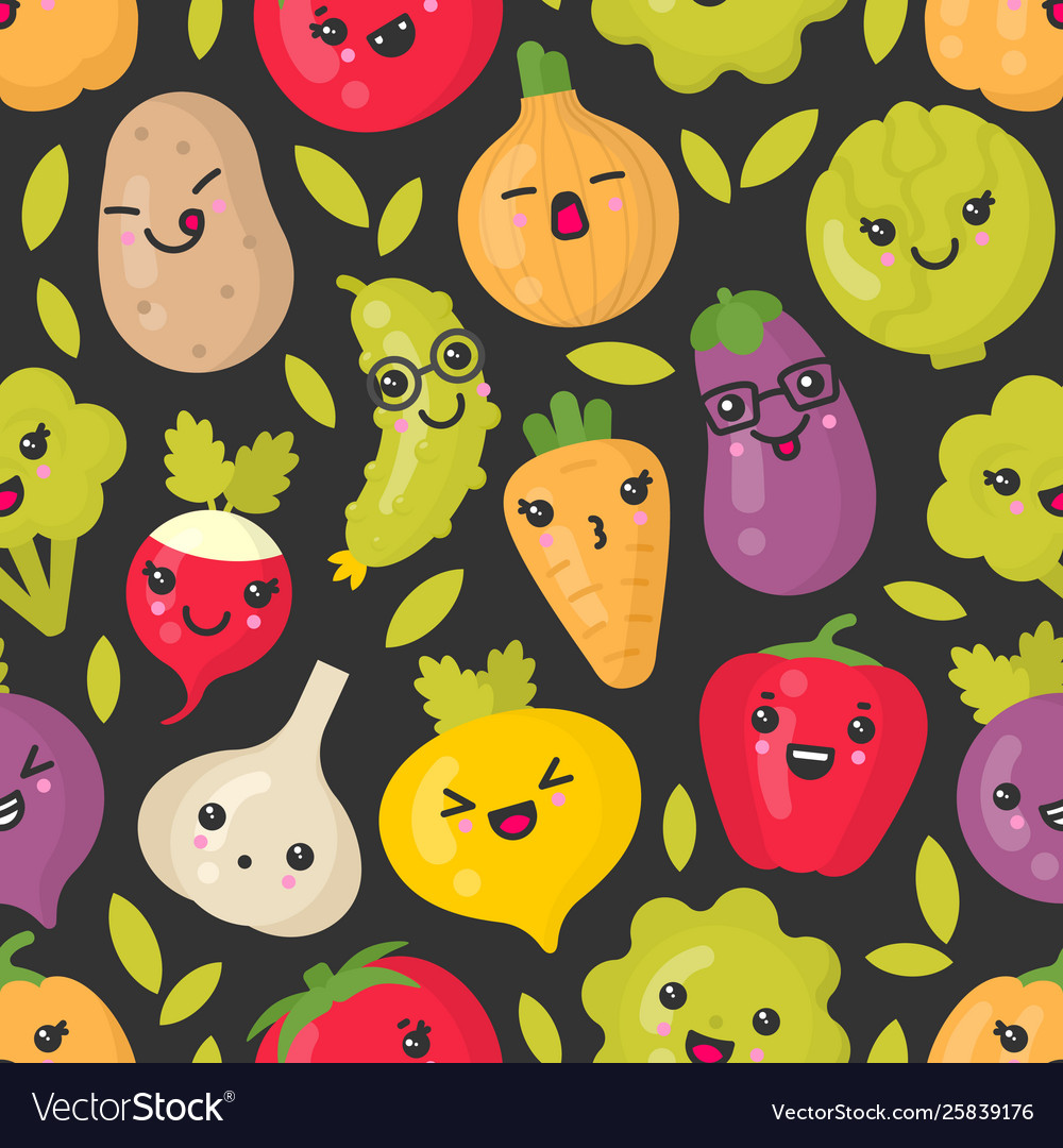 Cute smiling vegetables seamless pattern