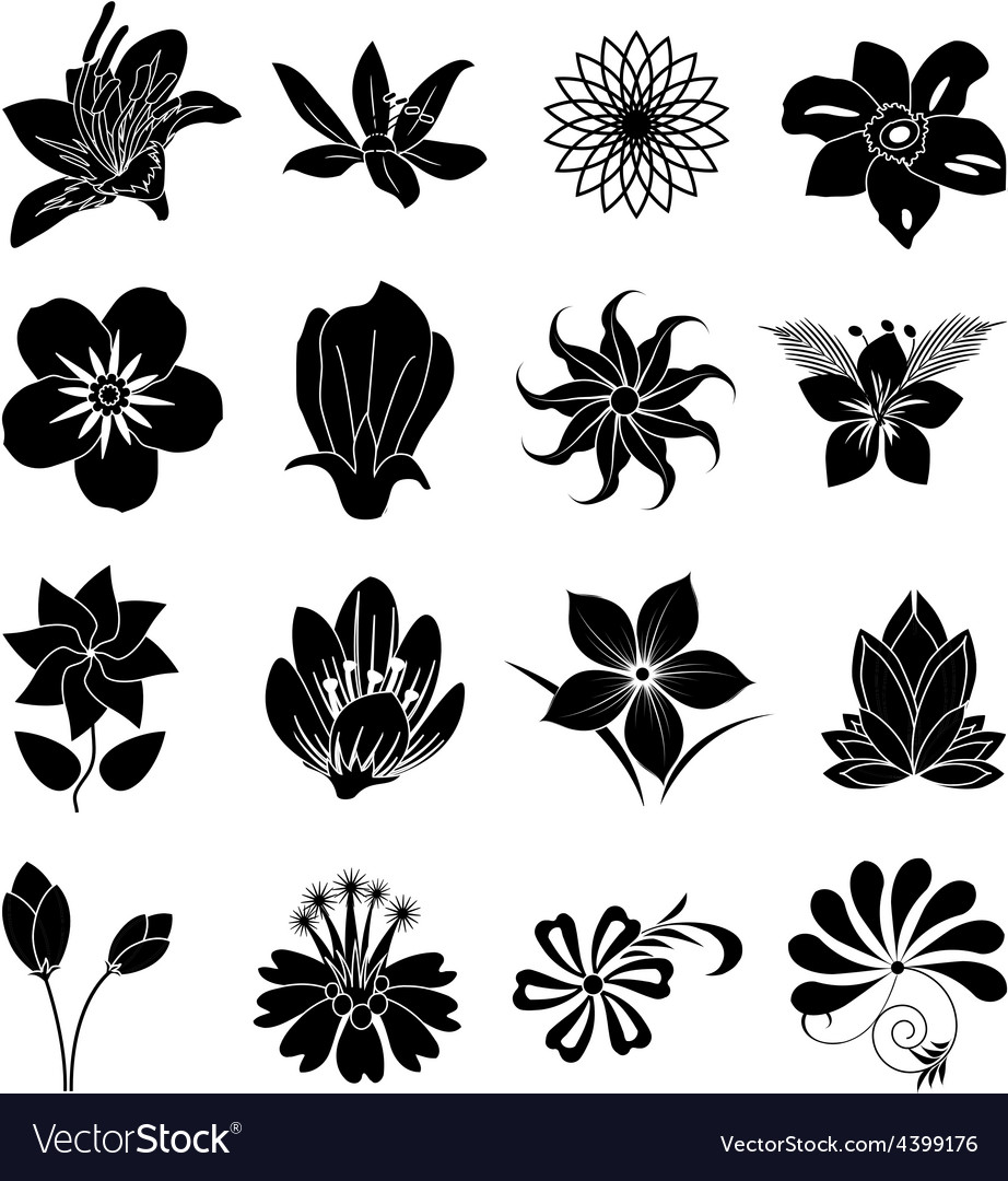 Flower silhouette icons set