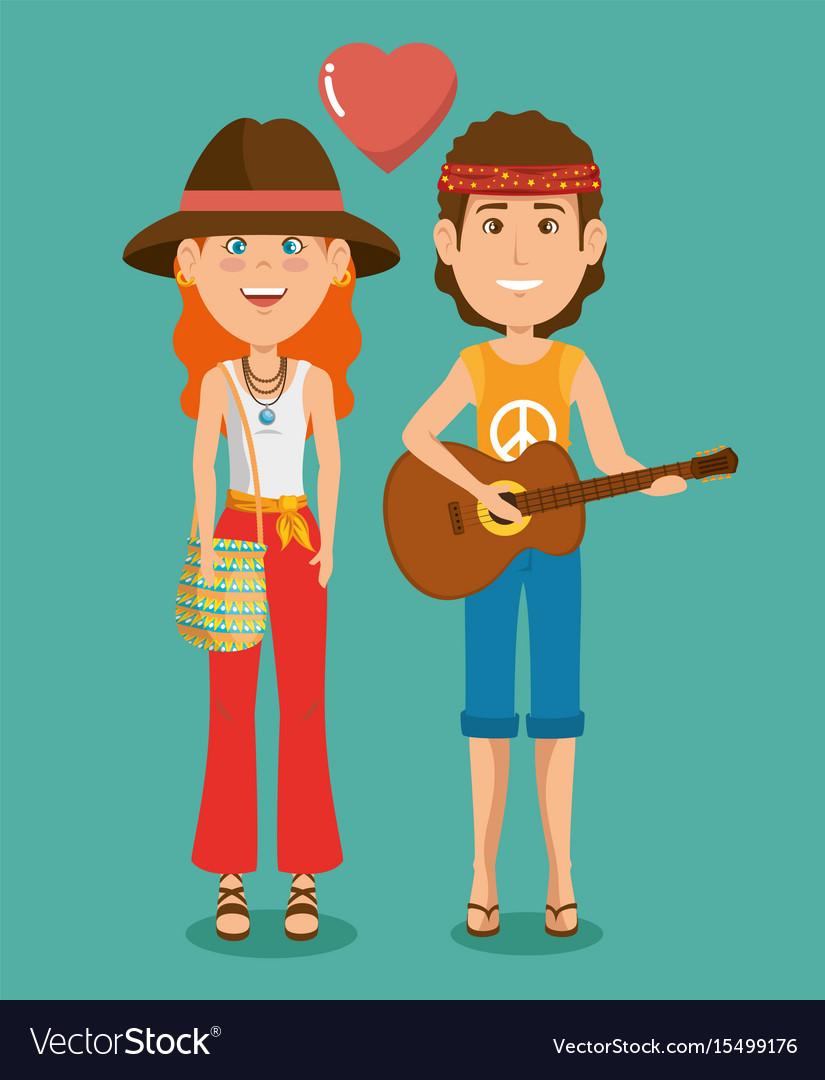 Hippie people cartoon