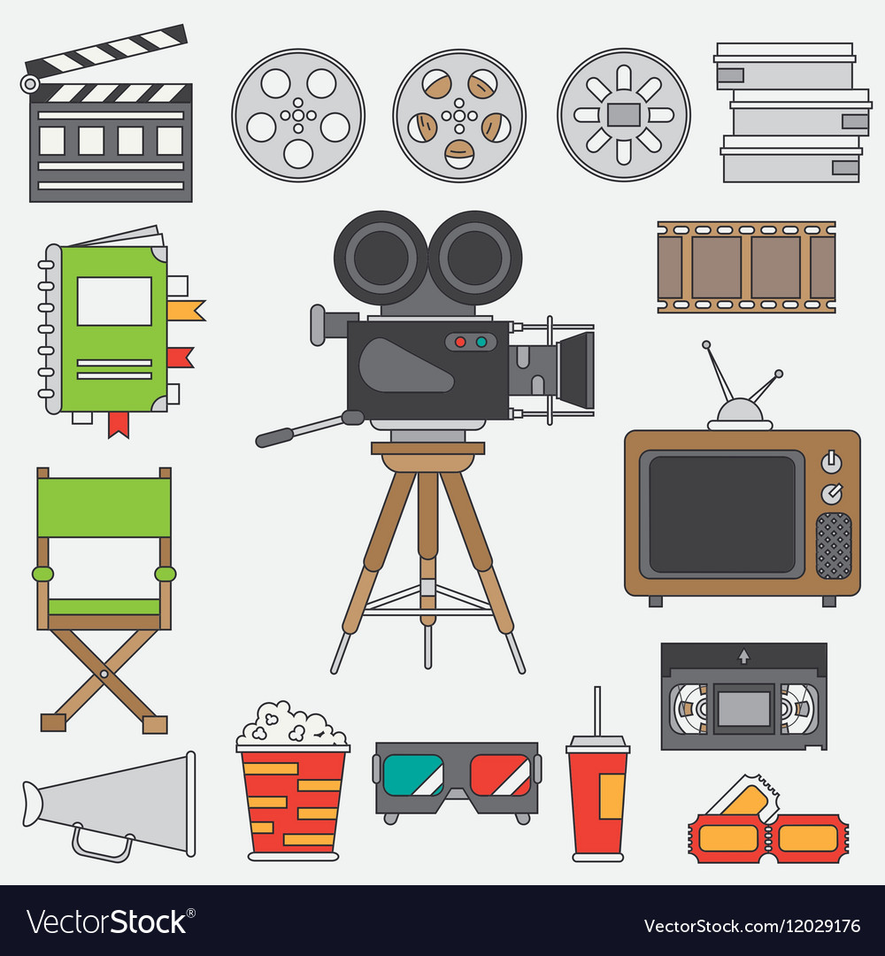 Line flat color icon elements of filmmaking