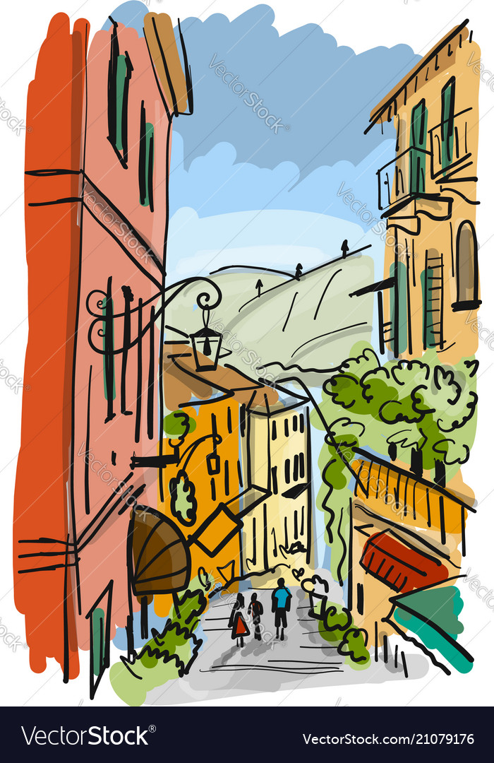 Old european street sketch for your design